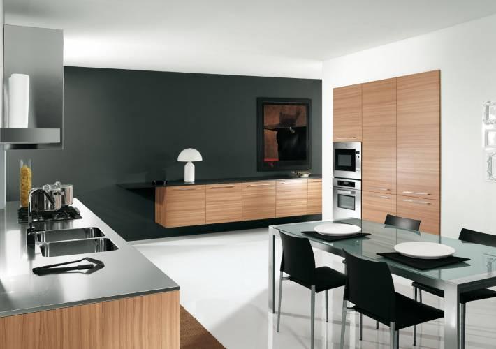Cucina moderna color noce