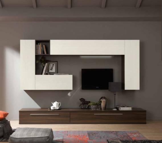 Parete Soggiorno Design Moderno L 300 Cm Con Mensole A Specchio Larice ...
